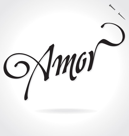 AMOR (Love in Spanish) original custom hand lettering -- handmade calligraphy, vector (eps8); typography background overlay for romantic photo cards party invitations for Valentines Day or wedding;