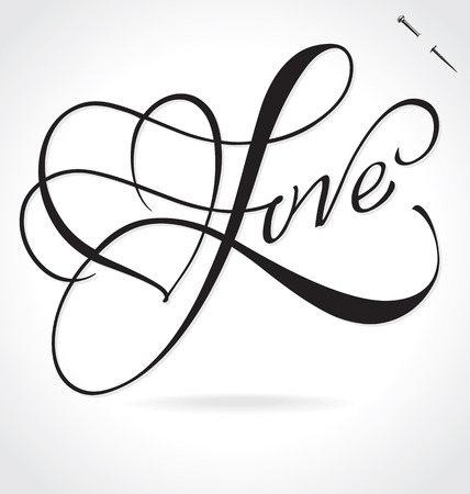 love silhouette: LOVE original custom hand lettering -- handmade calligraphy, vector (eps8); typography background overlay for romantic photo cards party invitations for Valentines Day or wedding