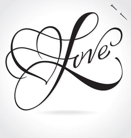 Amore originale lettering a mano su ordinazione - calligrafia fatta a mano, vettore (eps8); tipografia sfondo / overlay per cartoline fotografiche romantico / inviti festa per San Valentino o matrimonio
