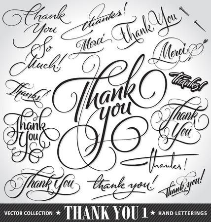 frances: Conjunto de costumbre GRACIAS letras de la mano - la caligrafía hecha a mano, vector (eps8)