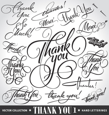 scroll background: Set of custom THANK YOU hand lettering -- handmade calligraphy, vector (eps8)