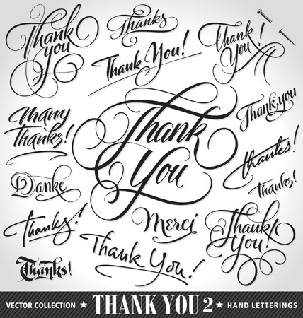 decorative letter: Set of custom THANK YOU hand lettering -- handmade calligraphy, vector (eps8)