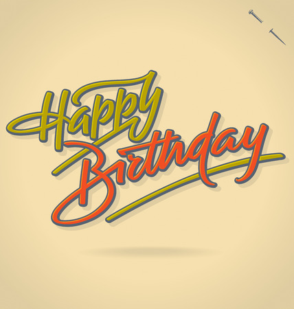 happy birthday text: HAPPY BIRTHDAY hand lettering vector