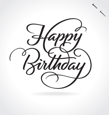 typography signature: HAPPY BIRTHDAY lettering