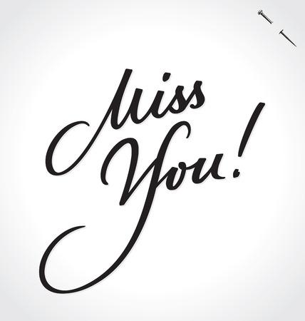 MISS YOU hand lettering Illustration