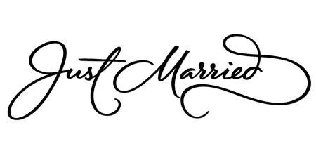 JUST MARRIED hand lettering, vector illustration. Hand drawn lettering card background. Modern handmade calligraphy. Hand drawn lettering element for your design. Stock Illustratie