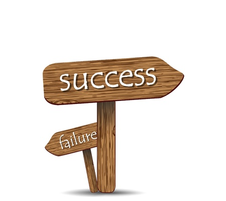 panels: wooden signs, success and failure, vector Illustration
