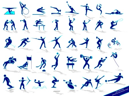 Set blue sports silhouettes, in vector