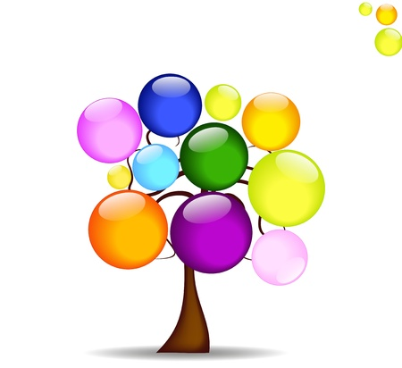 abstract background with tree and like the rainbow colored balls