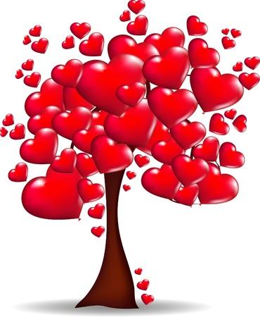 boom van harten in vector