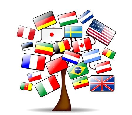 abstrakcyjne tło z głównego drzewa i flagi Ilustracja