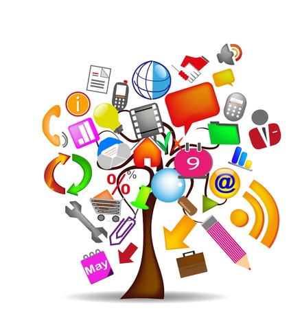 computer user: tree icons business Illustration