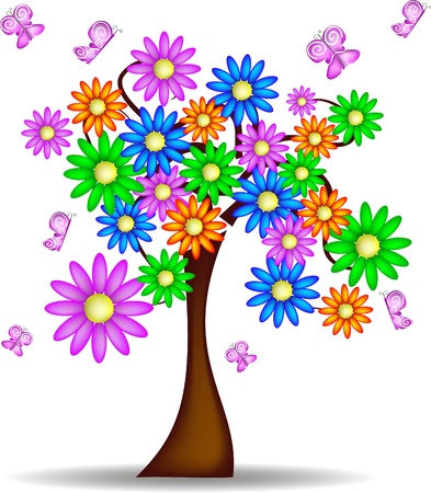 kids school: spring tree with flowers and butterflies Illustration