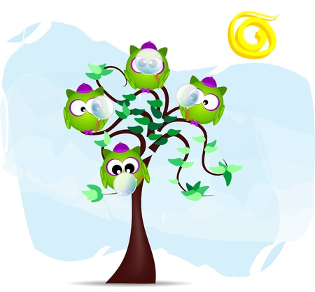 illustration with detectives owl in the branches, vector Vector