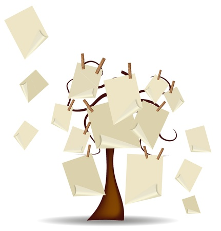 tree with post it hanging with clothespins Stock Vector - 9885594