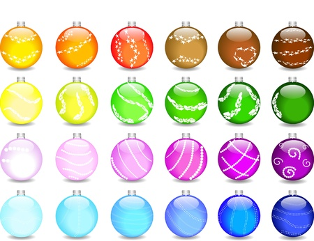 set colored christmas balls and shimmers