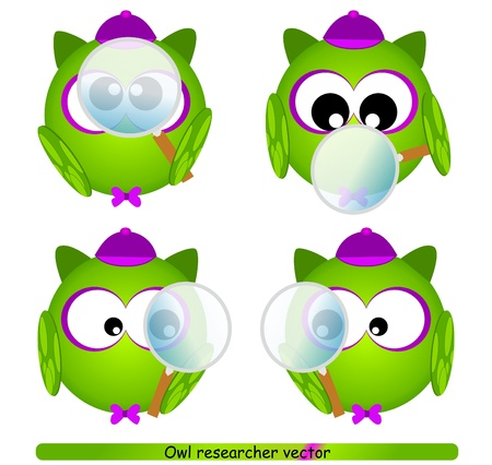 owl researcher with magnifying glass Vector