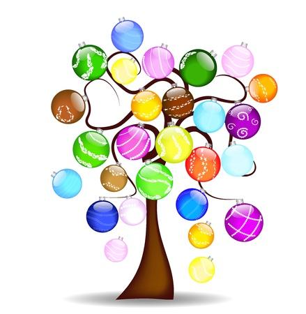 christmas tree with shining balls Stock Vector - 9999069