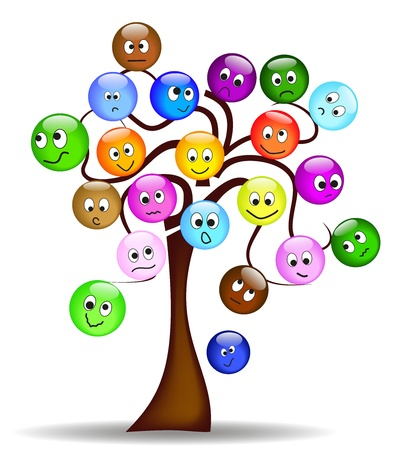nice tree with colorful smilies with different expression Vector