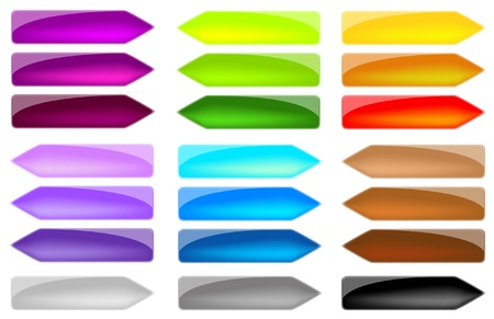 tecnology: set colored arrows, glass effect, in vector