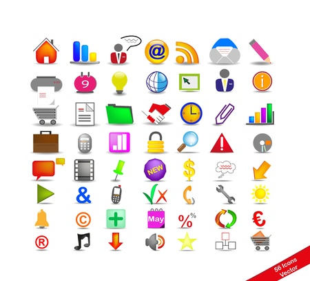 company profile: new set with 56 colorful icons on the business, vector Illustration