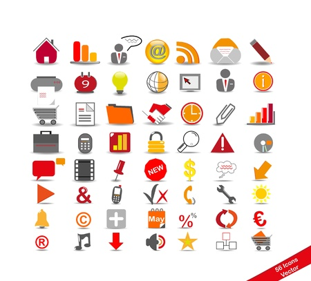 calendar icons: new set with 56 icons on the business, vector
