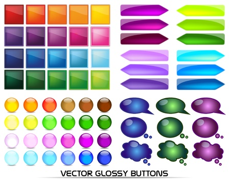 vector glossy buttons Stock Vector - 10083326