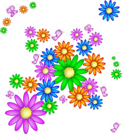 primavera: Sfondo con margherite e farfalle, vettoriale