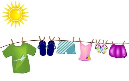 vector achtergrond met zomer kleren opknoping op de draad van de Verenigde Naties