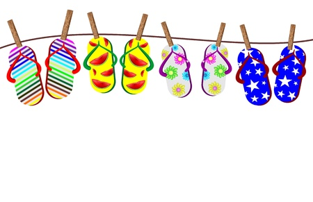 clip art feet: sandals nice background lies Illustration