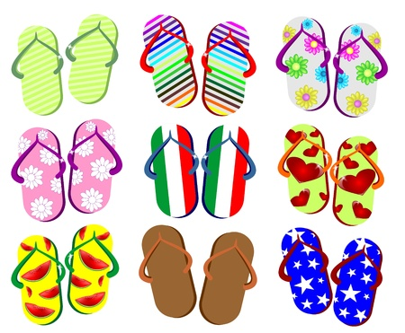 thongs: summer flip-flops in september Illustration
