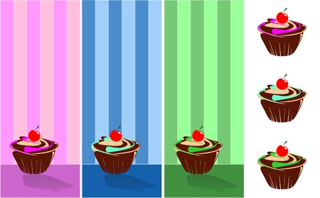 september decorated muffin, background wallpaper Vector