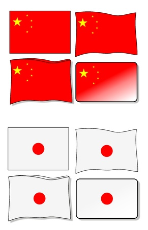 chinese flag japanese flag and Vector