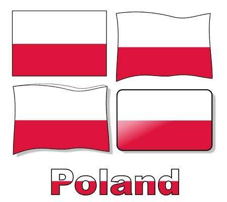 set poland flag Vector