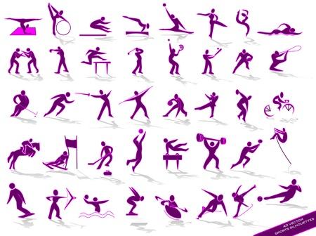 sports icon: deportivos siluetas p�rpuras Vectores