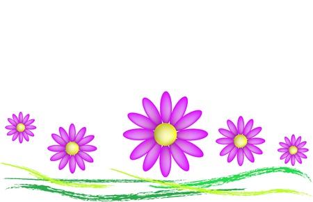 naif: Prato con margherite colorate in vettoriale
