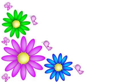 vettoriale: Sfondo Primaverile con margherite e farfalle