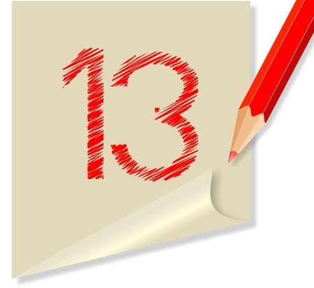 vettoriale: post-it NUMERO 13