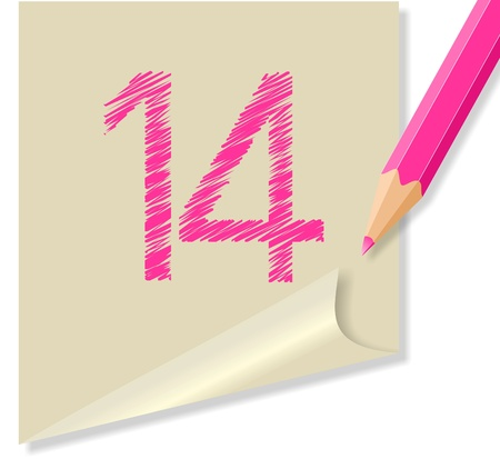 vettoriale: post-it NUMERO 14