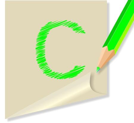post it con la lettera c Stock Vector - 10548947
