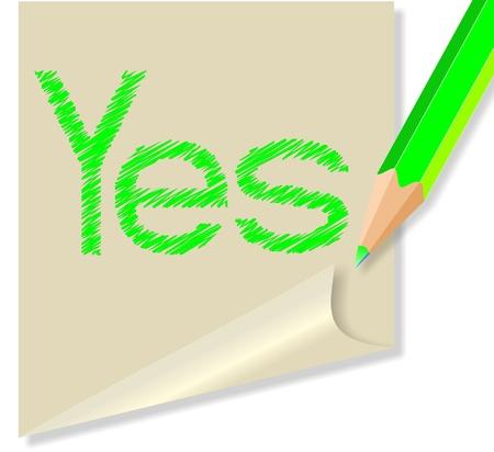 parole: messaggio con la parola sì