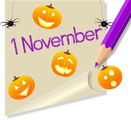 bambini: post it 1 novembre Festa di Halloween Illustration