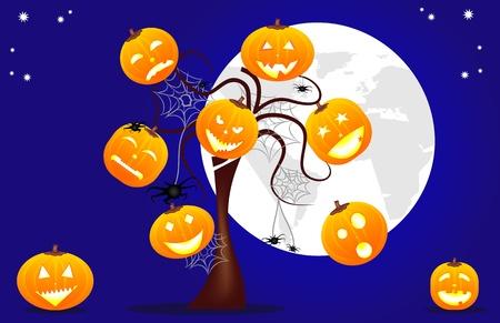 bambini: divertente halloween sfondo con zucche