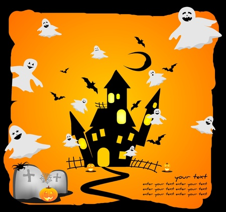 funny halloween background with ghosts Vector