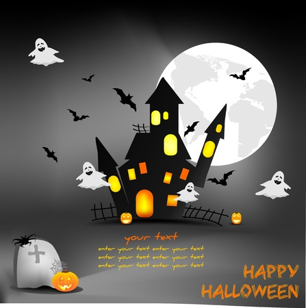 zabawne Halloween tła z tekstem Ilustracja