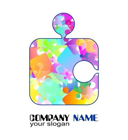 rainbow logo with a puzzle Ilustração
