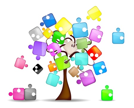 illustration for advertising: abstract background with tree and colorful puzzle