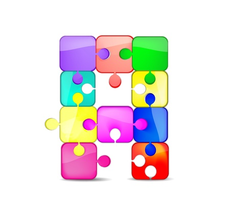 bambini: una lettera con il puzzle colorato Illustration