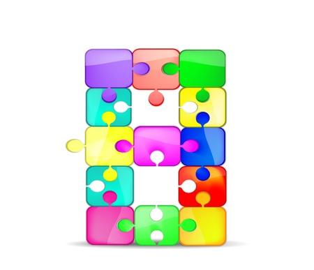 bambini: lettera b con il puzzle colorato