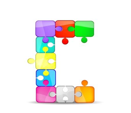 bambini: lettera c con il puzzle colorato